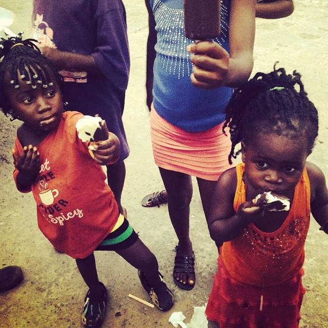 Two Liberian girls enjoy a cool treat. (Instagram.com/katiemeyler, More Than Me)