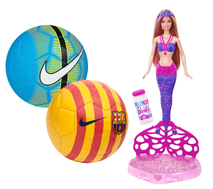 Nike Soccer Balls and Mattel Mermaid Barbie