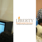CRT screens donated from United Airlines put to good use at Liberty Employment Services