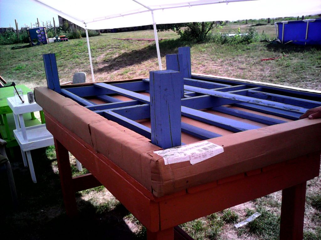 Wooden pallets turned into bed frames at the Pine Ridge Reservation in Wanblee, SD.